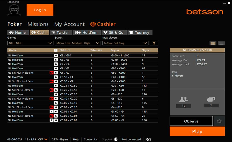 Покер сайт Betsson Poker