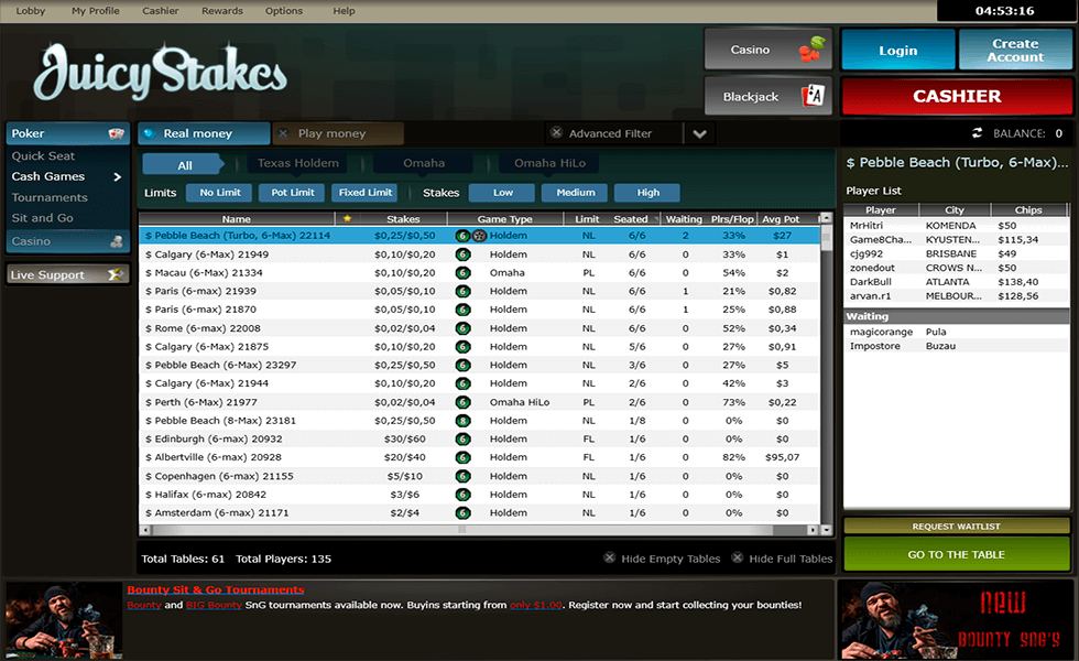 Покер сайт JuicyStakes Poker