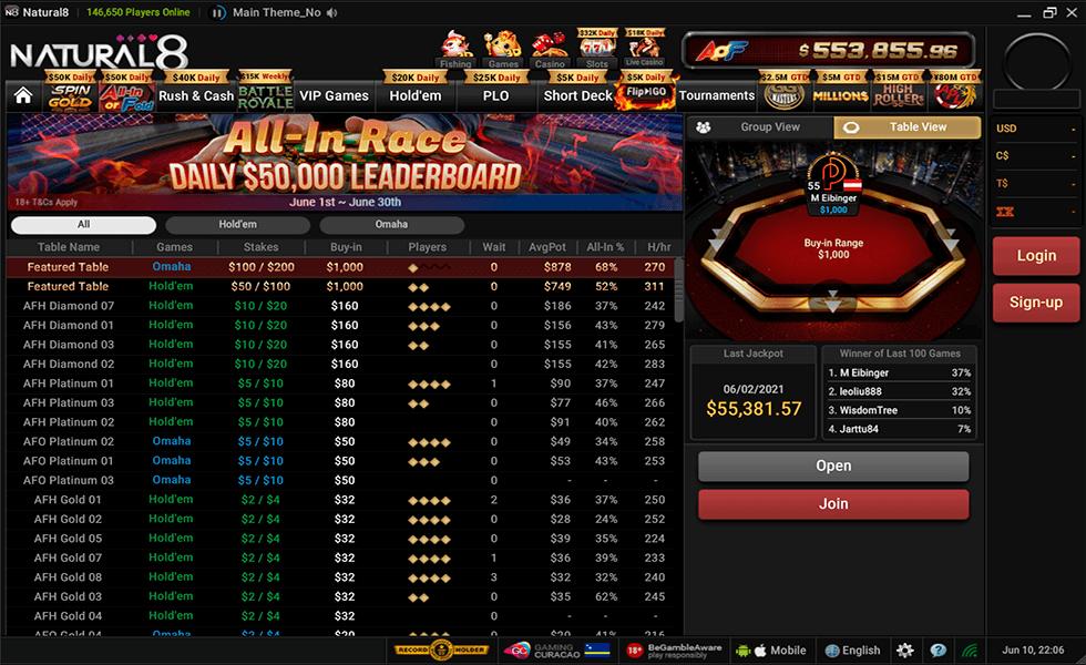 Pokerseite Natural8 Poker
